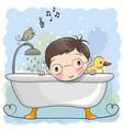 boy in the bathroom vector image