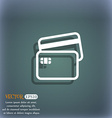 Credit card icon symbol on the blue-green abstract vector image