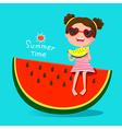 Cute girl eating watermelon vector image