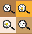 kawaii skillet with food faces icon vector image