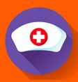 nurse hat icon flat nurse icon vector image