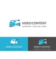 Video content busuness logo design in three colors vector image