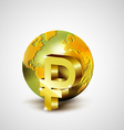 World economic concept with gold world and Ruble vector image