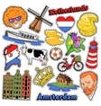 Netherlands Travel Stickers Patches Badges vector image