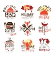 Best Grill Bar Promo Signs Set Of Colorful vector image