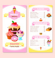 menu template for homemade pastry cakes vector image