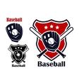 Baseball sport emblems vector image vector image