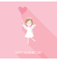 Valentines Day Card - Cupid Angel with Heart vector image