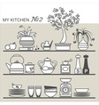 Kitchen utensils on shelves 2 vector image