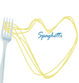 fork with spaghetti concept art on isolat vector image