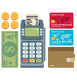 card money coins payment methods concept flat vector image