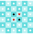 Card Suits Aqua Green Chess Board Background vector image