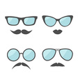 Glasses and mustache lips moustaches face icon set vector image