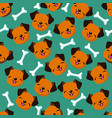 happy dog face seamless pattern vector image