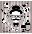 Retro gentleman face and accessories isolated vector image