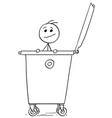 smiling man poking out of the dumpster garbage vector image