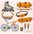 Sports equipment rollerblades skate bike vector image