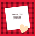 White paper sheet with text on the red checkered vector image