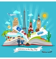 Travel book with trip elements vector image