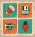 vintage microphone cassette floppy megaphone retro vector image