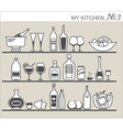 Kitchen utensils on shelves 3 vector image