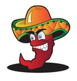 Mexican pepper cartoon character isolated on white vector image