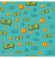 Money Seamless Pattern with Coins and Banknotes vector image