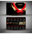 English pocket black colors calendar for 2017 vector image