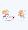cartoon girl is catching the cat vector image