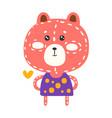 cute pink teddy bear in purple dress standing vector image