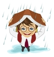 Little boy using book like protection of rain vector image