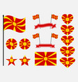 macedonia flag set collection of symbols heart vector image