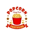 Popcorn basket fast food menu sticker emblem vector image