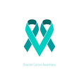 Teal Ribbons Ovarian Cancer Awareness vector image