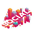 three dimensional word social with abstract vector image