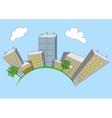 Cartoon city on global vector image