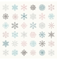 Colorful Winter Snow Flakes Doodles vector image