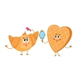 Funny waffle wafer and croissant characters doing vector image