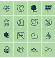 set of 16 ecology icons includes home ocean wave vector image