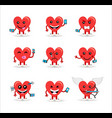 valentines day social media heart emoji set vector image