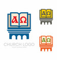 holy bible cross alpha and omega vector image