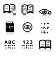 Blindness Braille writing system icon set vector image