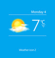Realistic weather icon sun with clouds vector image