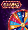 spinning fortune wheel internet casino banner vector image