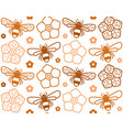 seamless pattern with image of honey bee vector image vector image
