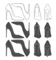 set of images of female shoes on the heel vector image
