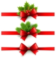 Red holiday ribbon with bow holly and pine vector image