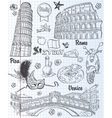 A set of sights in Italy architecture food vector image