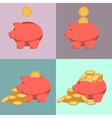 Piggy bank icon in style of flat design vector image