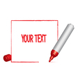 text frame and a red felt-tip pen vector image vector image